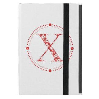 alfabeto X de la flor (rojo y puntos) iPad Mini Coberturas