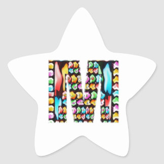 Alfabetos decorativos - estrella del sorteo MMM Pegatina En Forma De Estrella