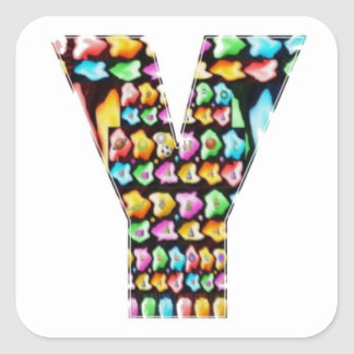Alfabetos decorativos - sorteo del fiesta pegatina cuadrada