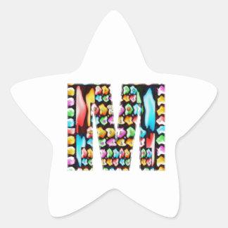 Alfabetos decorativos - sorteo del fiesta pegatina en forma de estrella