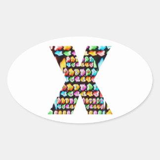 Alfabetos decorativos - sorteo del fiesta pegatina ovalada