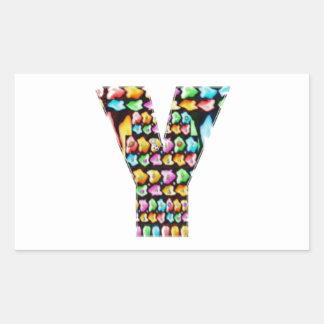 Alfabetos decorativos - sorteo del fiesta pegatina rectangular