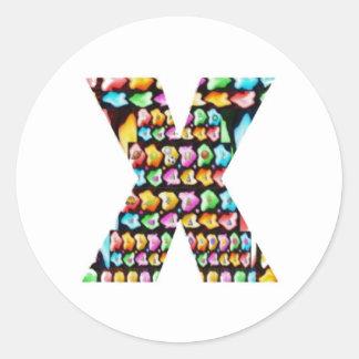 Alfabetos decorativos - sorteo del fiesta pegatina redonda