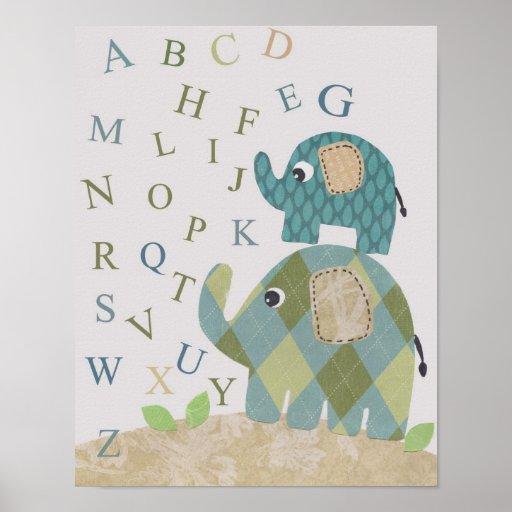 Alfabetos lindos del elefante del arte de la pared
