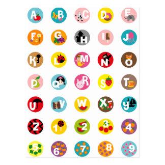 alfabetos tarjetas postales
