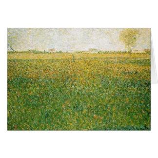 Alfalfa Fields Saint Denis by Georges Seurat Greeting Card