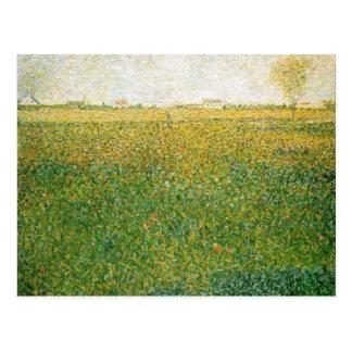 Alfalfa Fields Saint Denis by Georges Seurat Postcard