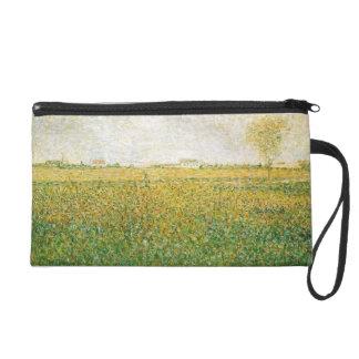 Alfalfa Fields Saint Denis by Georges Seurat Wristlet Purse