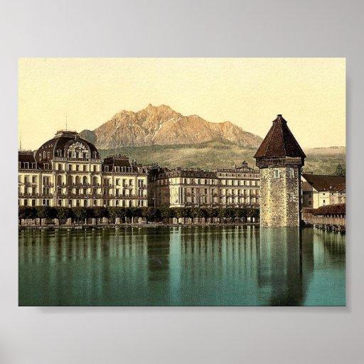 Alfalfa, Hotel du Lac, Pilatus, vintag de Suiza Póster