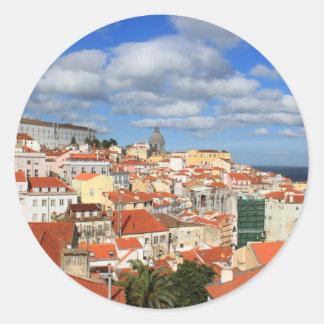 Alfama Lisbon rooftops Classic Round Sticker