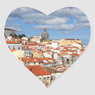 Alfama Lisbon rooftops Heart Sticker