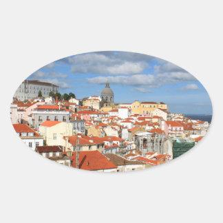 Alfama Lisbon rooftops Oval Sticker