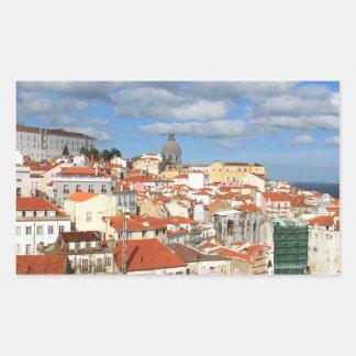 Alfama Lisbon rooftops Rectangular Sticker