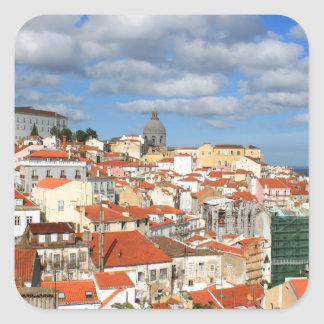 Alfama Lisbon rooftops Square Sticker
