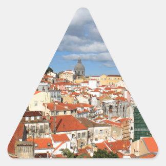 Alfama Lisbon rooftops Triangle Sticker