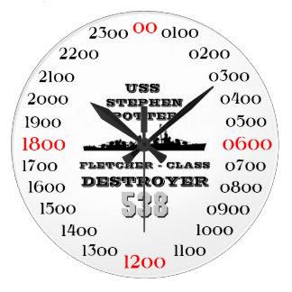 Alfarero de USS Stephen (DD-538) Reloj Redondo Grande