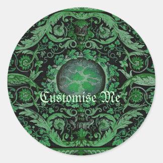 Alfombra 1 (verde) de Savonnerie Pegatinas Redondas