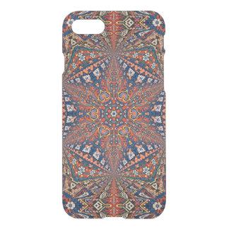 Alfombra armenia caleidoscópica en rojo y azul funda para iPhone 7