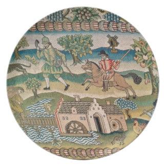 Alfombra de la tabla de Bradford, detalle de escen Platos Para Fiestas