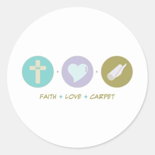 Alfombra del amor de la fe etiqueta redonda