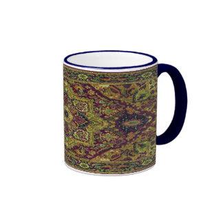 Alfombra persa en verde taza de dos colores