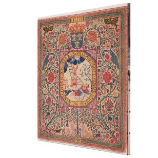 Alfombra tejida a mano que representa el sueño de  impresión en lienzo estirada