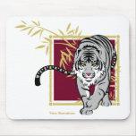 """Alfombrilla de ratón """"Tigre blanco y bambú """""""