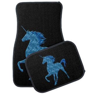 Alfombrillas de auto azules del unicornio del fueg alfombrilla de coche