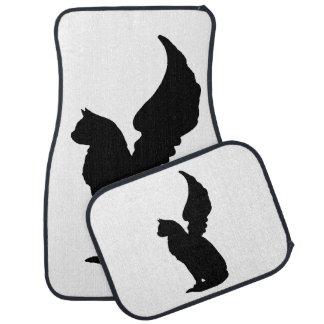 Alfombrillas de auto negras del gato del ángel de  alfombrilla de coche
