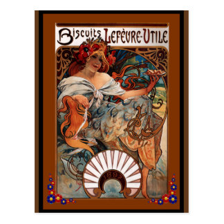 Alfons Mucha - 1896 - Biscuits Lefèvre-Utile Postcard