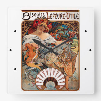 Alfons Mucha - 1896 - Biscuits Lefèvre-Utile Square Wall Clock