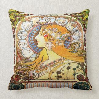 Alfons Mucha 1896 Zodiac Throw Pillow