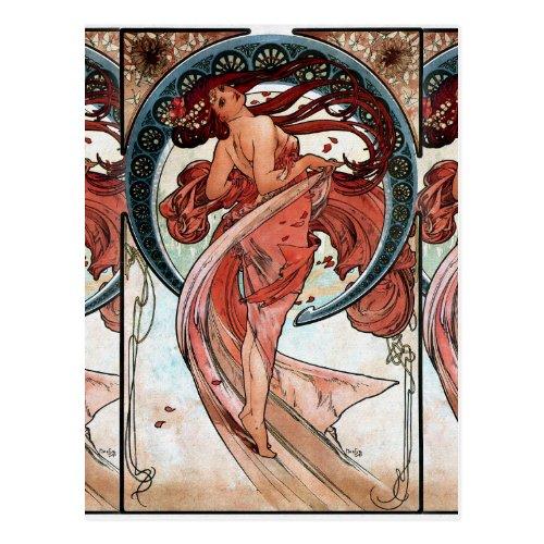 Alfons Mucha 1898 Dance Postcard