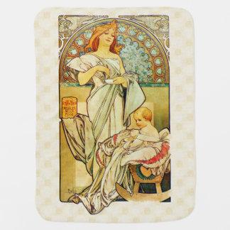Alfons Mucha 1898 Food for Infants Swaddle Blanket
