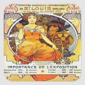 Alfons Mucha 1903 Exposition Universelle Square Sticker