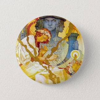 Alfons Mucha ~ Art Nouveau Pinback Button