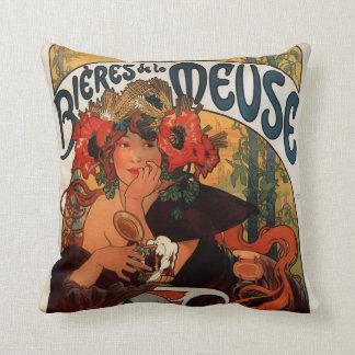 Alfons Mucha Art Nouveau Throw Pillow