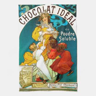 Alfons Mucha Chocolat Idéal Children illustration Hand Towels