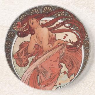 Alfons Mucha Dance Sandstone Coaster