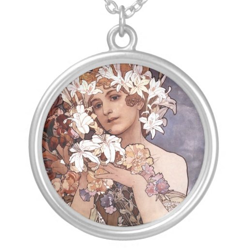 Alfons Mucha: Flower Personalized Necklace