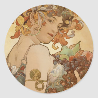Alfons Mucha - Fruit Classic Round Sticker