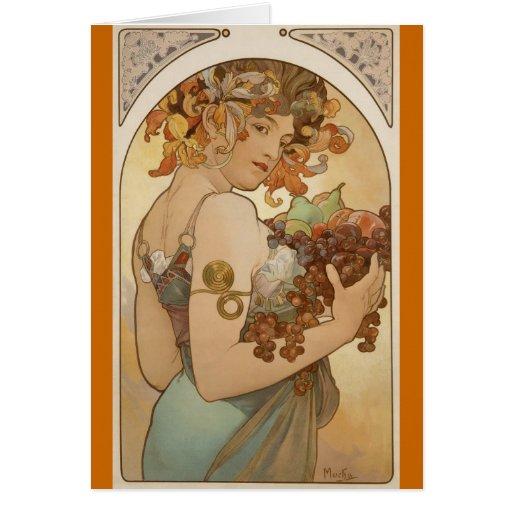 Alfons Mucha - fruta Tarjeton