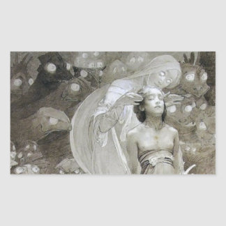 Alfons Mucha ~ illustration from Le Pater Rectangular Sticker