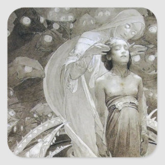 Alfons Mucha ~ illustration from Le Pater Square Sticker
