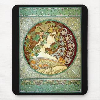 "Alfons Mucha, ""Ivy"" Mouse Pad"