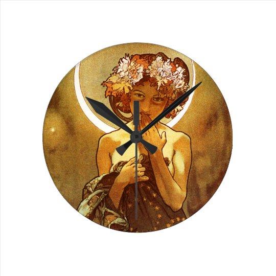 Alfons Mucha: Luna Round Clock