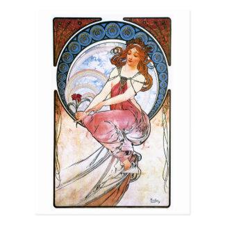 Alfons Mucha: Musa de la pintura Postales