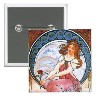 Alfons Mucha: Muse of Painting Pinback Button