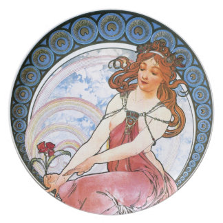 Alfons Mucha: Muse of Painting Dinner Plate