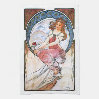 Alfons Mucha: Muse of Painting Hand Towels